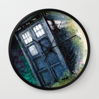 dr who Wall Clocks featuring Dr. Who Tardis by Mercenary Art Studio
