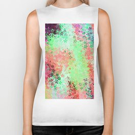 flower pattern abstract background in green pink purple blue Biker Tank