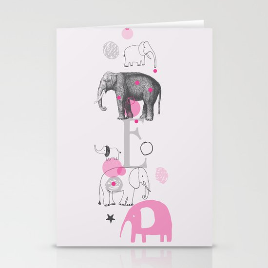Elephants Circus Stationery Cards