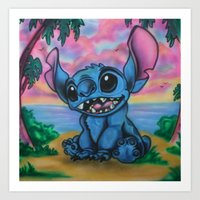 stitch Art Prints featuring Stitch by spiderdave7