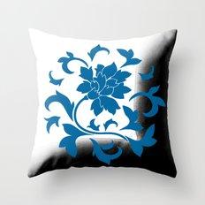 Oriental Flower - Snorkel Blue Circular Pattern On White Background Throw Pillow