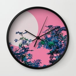 Pink sky and rowan tree Wall Clock