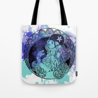 roller derby Tote Bags featuring Nouveau Roller Derby by Mean Streak