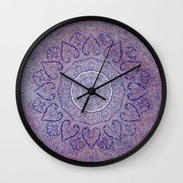 fine line paisley heart mandala blues Wall Clock