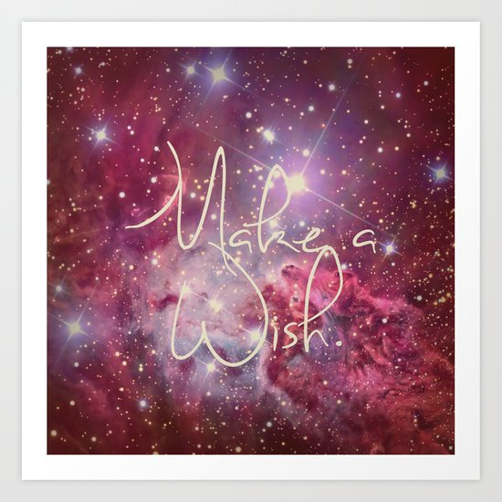 Make a Wish Vintage Nebula Galaxy Stars Art Print