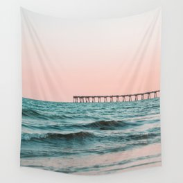 Beach Pier Sunrise Wall Tapestry