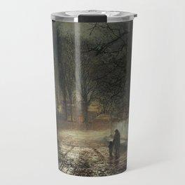 John Atkinson Grimshaw - A moonlit Lane - Victorian Retro Vintage Painting Travel Mug