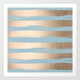 Painted Stripes Gold Tropical Ocean Sea Blue Art Print