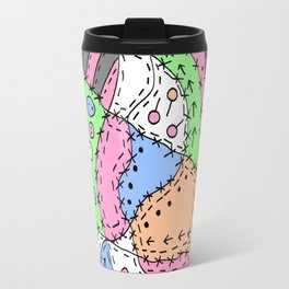 Doodle Art Buttons and Pins - Gray Green Pink Travel Mug