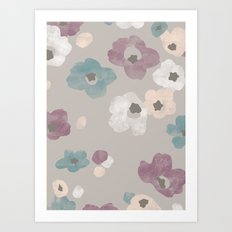 Watercolor Blooms - in Taupe Art Print