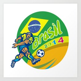 Brasil 2014 Football Player Kicking Retro Art Print