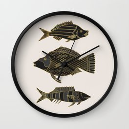 Fantastical Fish 2 - Black and Gold Wall Clock
