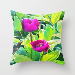 Two Tulips Rising Throw Pillow