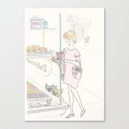 French Bulldogs and Paris Patisserie Canvas Print