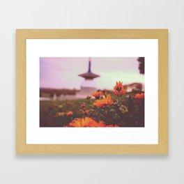 Japan Temple Flowers Framed Art Print