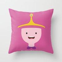 princess bubblegum Throw Pillows featuring Princess Bubblegum by dudsbessa