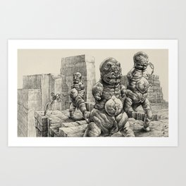Cyanominoids Sipping Microtubules with their Umbilical Mouths, No.3 Art Print
