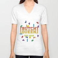 tetris V-neck T-shirts featuring BQ - Tetris by lessdanthree