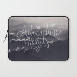 Adventure awaits Typography Gorgeous Mountain View Laptop Sleeve