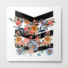 Colored flowers with black lines Metal Print