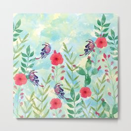 Watercolor floral garden Metal Print