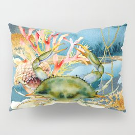 Watercolor Under Sea Collection: Crab and Coral Pillow Sham