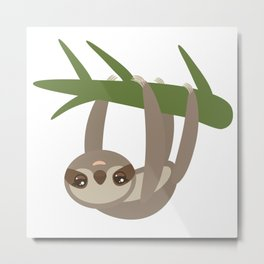 Three-toed sloth on green branch on white background Metal Print