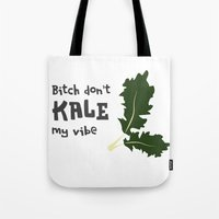 humor Tote Bags featuring Kale humor by A*WIZ