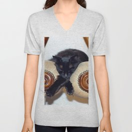 Relaxed Black Cat Sleeping Between Two Chairs  Unisex V-Neck