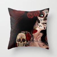 dia de los muertos Throw Pillows featuring Dia De Los Muertos  by Kris Chisholm