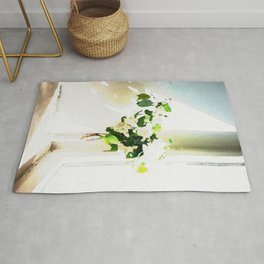 Vase of Flowers with shadows watercolor Rug