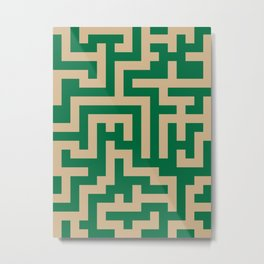 Tan Brown and Cadmium Green Labyrinth Metal Print