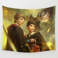 merlin Wall Tapestries featuring BBC Merlin: Emrys Ascending  by mushroomtale