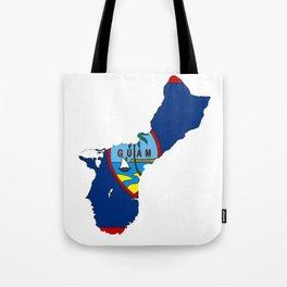 Guam Map with Guamanian Chamorro Flag Tote Bag