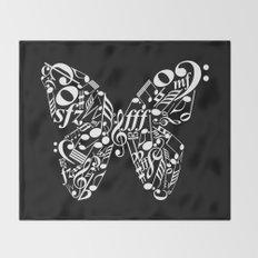 Invert music butterfly Throw Blanket