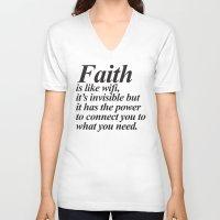faith V-neck T-shirts featuring Faith. by Sara Eshak