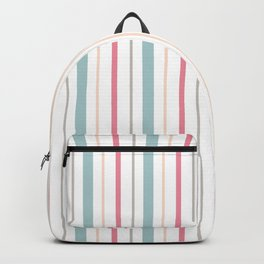 Blue Coral Yellow Gray Pin Stripes Backpack