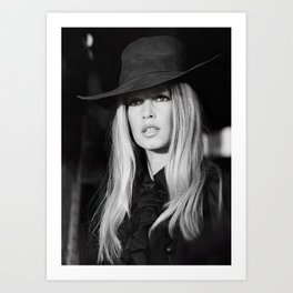Brigitte Bardot with Black Hat Retro Vintage Art Art Print