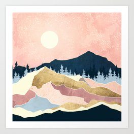 Coral Sunset Art Print