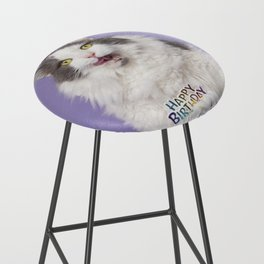 Happy Birthday Fat Cat In Party Hat With Cake Bar Stool