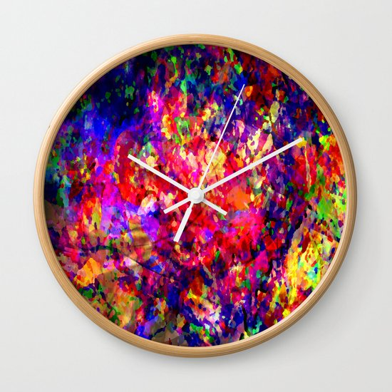 abstract tropical flowers Wall Clock