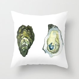 Watercolor Atlantic Oysters #1 by Artume Throw Pillow