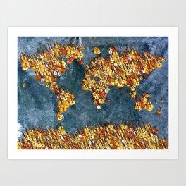 World Music Grunge Art Print