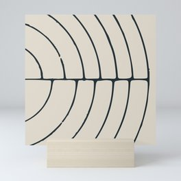Sections, Circles and Lines, Charcoal Gray on Cream Mini Art Print