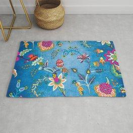 Blue Lapis Velvet Texture Chintz Multicolour Bohemian Floral Pattern Rug