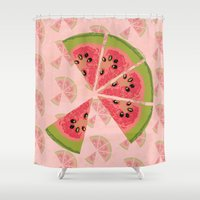 watermelon Shower Curtains featuring Watermelon  by Brocoli ArtPrint