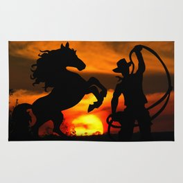 Cowboy at sunset Rug