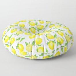 You're the Zest - Lemons on White Floor Pillow