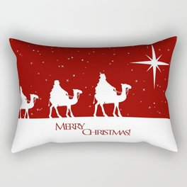 Holiday Christmas Camel Red White Snow Star Merry  Rectangular Pillow