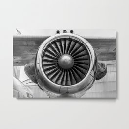 Vintage Airplane Turbine Engine Black and White Photographic Print Metal Print